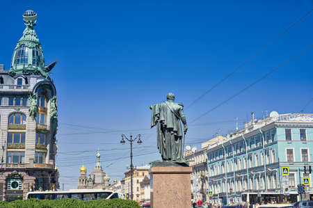 View of the Monument to Mikhail Kutuzov from the Kazan Cathedral. Also in the frame is the House of the Zingers, the Church of the Savior on Spilled Blood and Nevsky Prospekt. Russia Saint Petersburg. 05/29/2021 pm 16.25