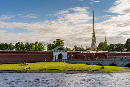 Peter and Paul Fortress, view from the embankment of the Neva River. Russia Saint Petersburg. 05/29/2021 pm 14.22