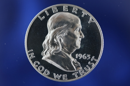 benjamin franklin: Benjamin Franklin half dollar proof 1963 on Blue Background