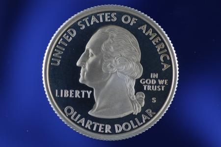 Washington Quarter on Blue Background Banco de Imagens
