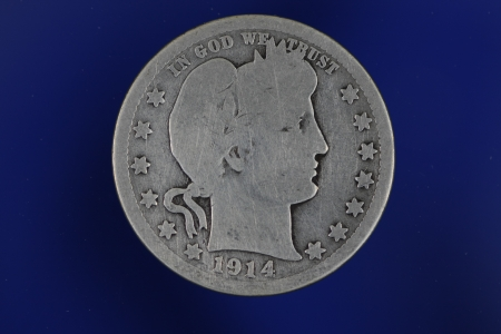 Barber Silver Quarter on Blue Background