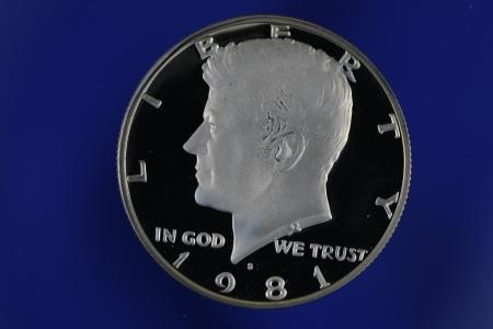 Kennedy Half Dollar Proof on Blue Background