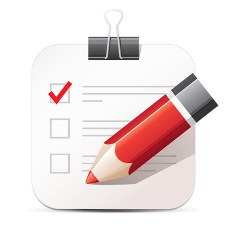 チェックリストと鉛筆アイコン  イラスト・ベクター素材