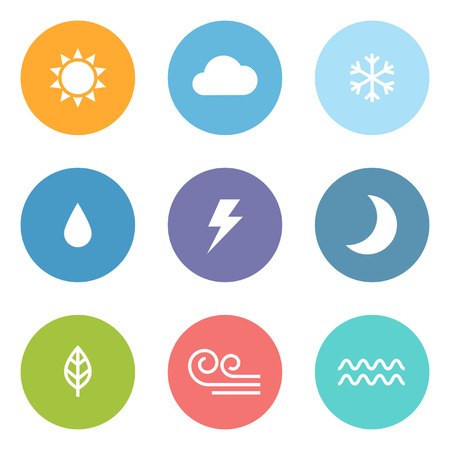 sonne: Flach Design-Stil Wettersymbole Illustration
