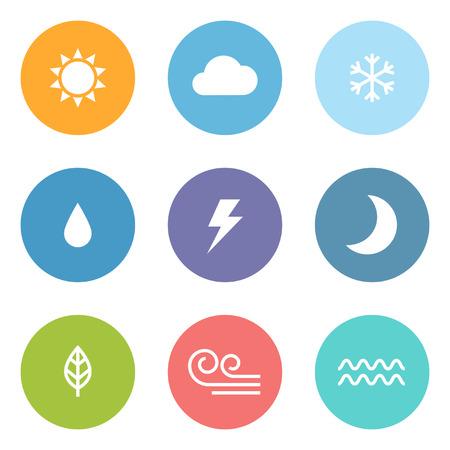 sol y luna: Iconos del tiempo del estilo del diseño Flat