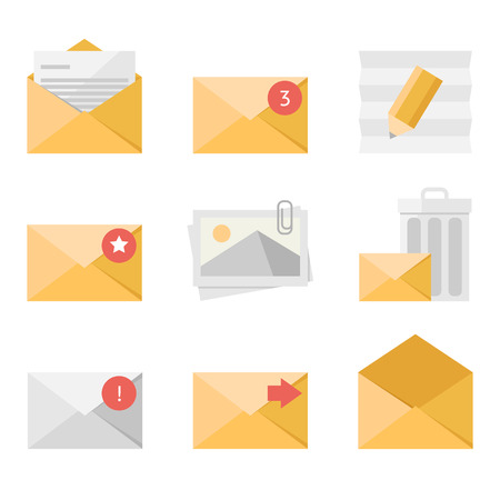 inbox: Yellow mail icon set in flat design style