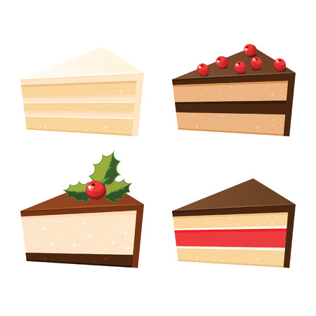 Set of different cake slices