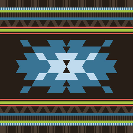 Tribal geometric triangle pattern in brown and blue colors for cover Çizim