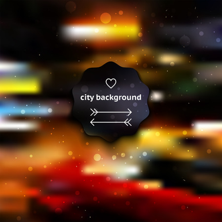 City blur background with lights, dots, and label Vector
