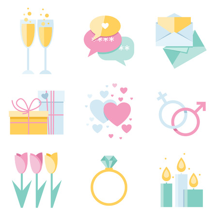 dimond: Dating isolated icons set in flat design style