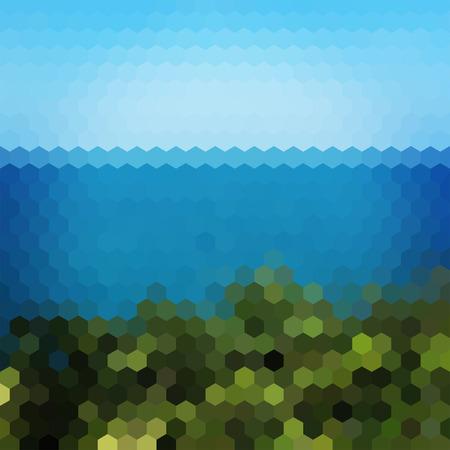 viewpoint: Landscape nature geometric hexagon vector background Illustration