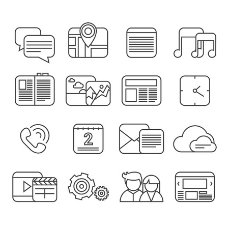 Mobile phone functions big isolated icon set, outline design style Vector