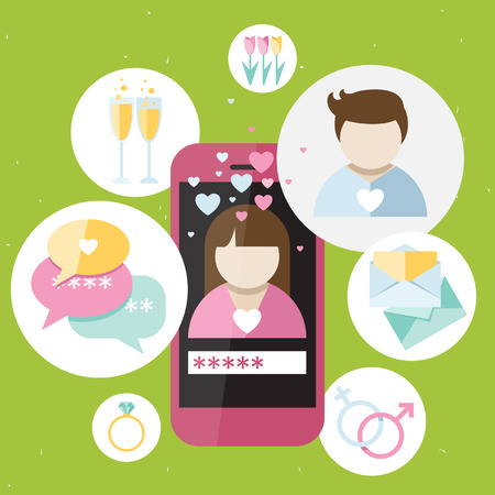 dating icons: Pink girly mobile phone with dating icons, illustration about man and women relationship for dating web site