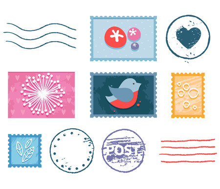 postmark: Vector postal stamp and postmark isolated set with floral pictures, heart shape, bird and lines