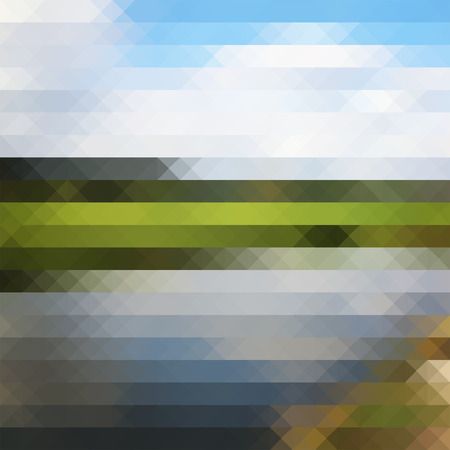 lanscape: Triangle geometric pixel lanscape background for design backdrop. Sky, lake, grass, plants Illustration