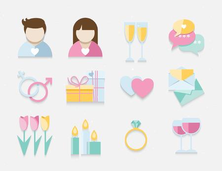 Dating romantic big vector set for couple, wedding, celebration design