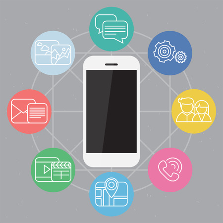 Mobile phone vector illustration with colorful set of device functions in a web composition on background Vector