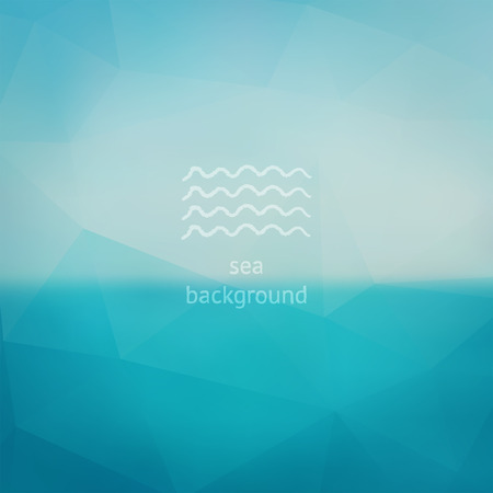Triangle turquoise sea ocean sky abstract blurred vector background, backdrop, design template