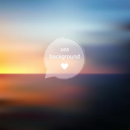 backdrop design: Vector sunset sea ocean and sky blurred defocused landscape, outdoor illustration, backdrop for design