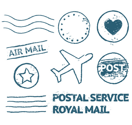 Postal mail blue stamp set in grunge style, isolated vector objects Vector