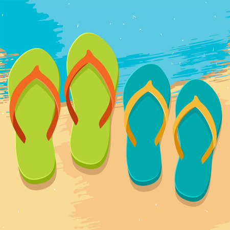 flops: Pair of colorful mans and womens flip flops, illustration in flat design style on grunge beach background