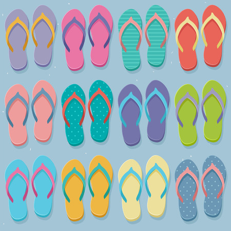 Big set of colorful pairs of flip flops, illustration in flat design style Vector