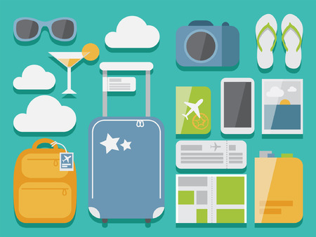 Travel flat vector set of objects with shadow on background , modern design style, objects for traveling and tourism illustrations  Çizim