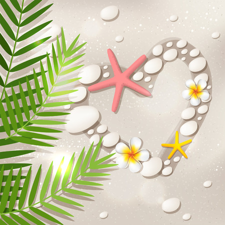 Heart shape on the white sand beach, with frangipani flowers, palm tree leaves, starfish and stones Vector