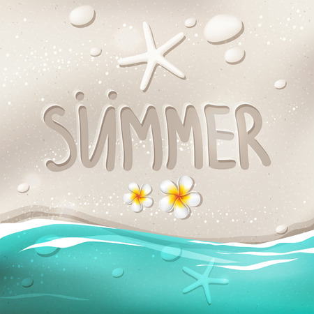 sand background: Summer vector beach illustration with sea, ocean, frangipani flowers, stones and starfishes with white sand  background