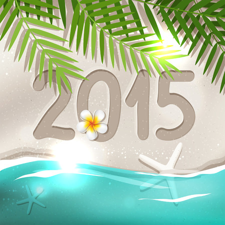 2015 New Year postcard from tropical country, holiday on the beach with blue sea, frangipani flower, white sand, palm tree leaves Vector