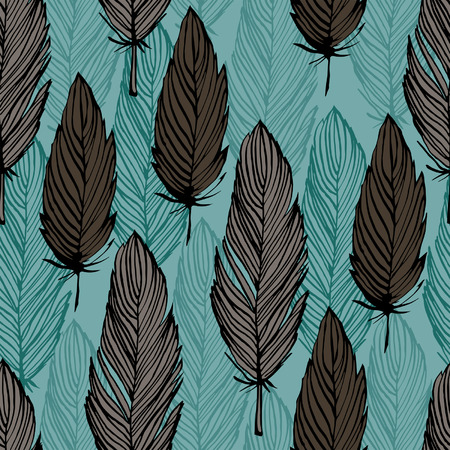 color swatch: Bird feather vector seamless pattern, hand draw background for design, fabric swatch Illustration