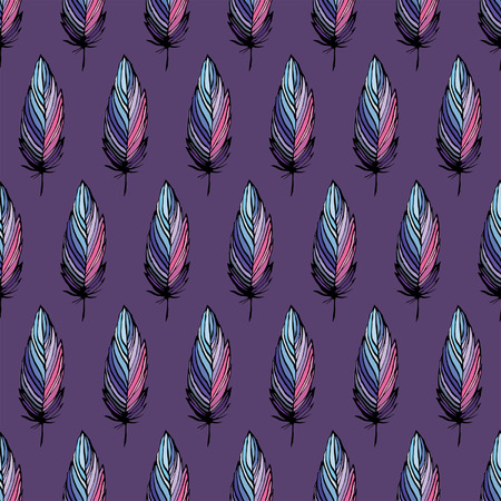 pastel colored: Feather bird seamless vector pattern, pastel colored textile background Illustration