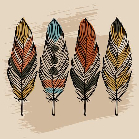 indio americano: Dibujar a mano la pluma colorida vector conjunto �tnico Vectores