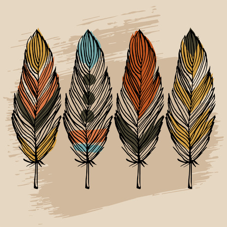 american indian aztec: Hand draw colorful feather ethnic vector set