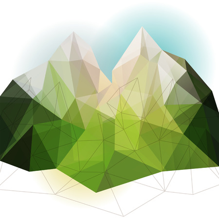 hill top: Green abstract geometric triangle mountain background illustration, nature backdrop Illustration