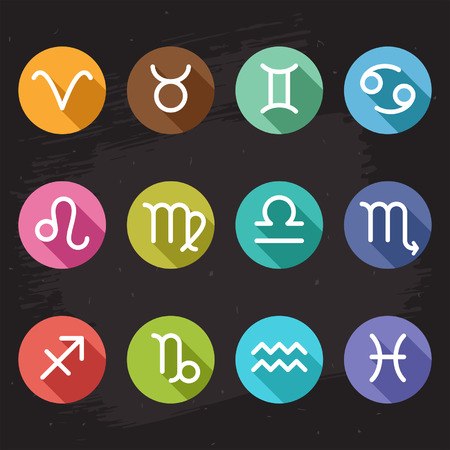 Vector horoscope icons set, white zodiac signs on colorful circles in flat design style with shadows Vector
