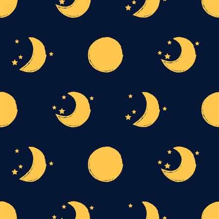 stars cartoon: Different moon seamless pattern child background with stars in grunge style Illustration
