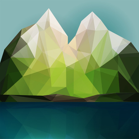 Mountain and lake vector triangle polygonal geometric background illustration, nature scene for design backdrop Vector