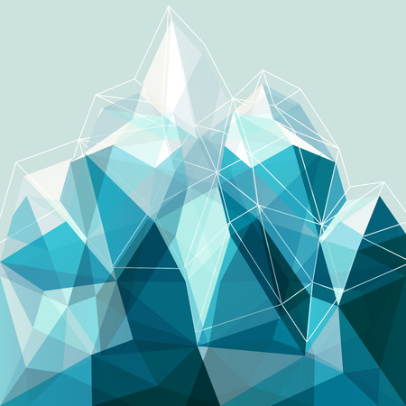 geometry: Abstract geometry snow blue arctic mountain illustration, design backdrop for presentation