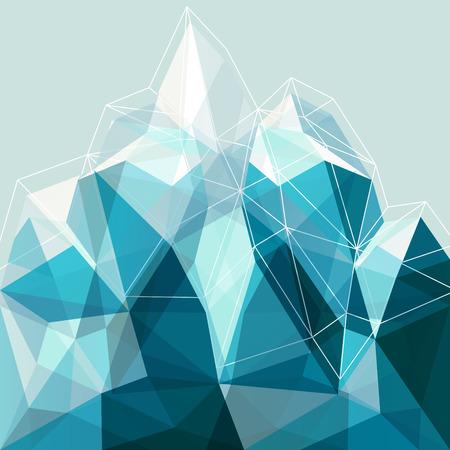 Abstracte geometrie sneeuw blauwe arctische bergen illustratie, ontwerp decor voor de presentatie Stock Illustratie
