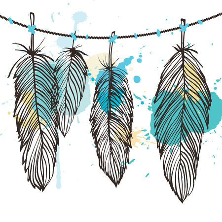 pastel colored: Aquarelle stains vector brown outline hanging on feather set, grunge style background illustration