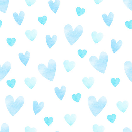 Blue vector heart shape seamless watercolor pattern, isolated background Vector