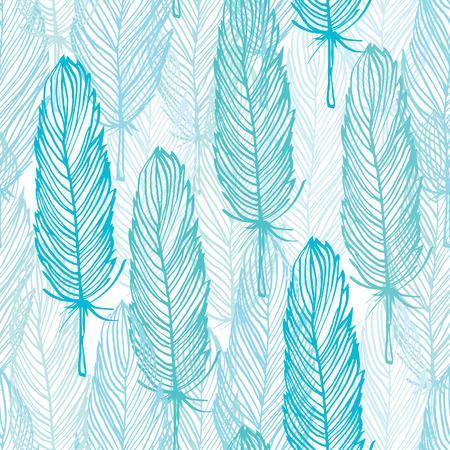 Blauw overzicht veer naadloze patroon, vector hand getrokken achtergrond