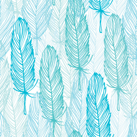 Blue outline feather seamless pattern, vector hand drawn background