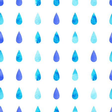 Blue vector watercolo rain drops, aquarelle seamless isolated pattern background Ilustração