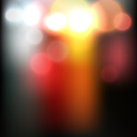 Blurred abstract night road vector image with bright car lights