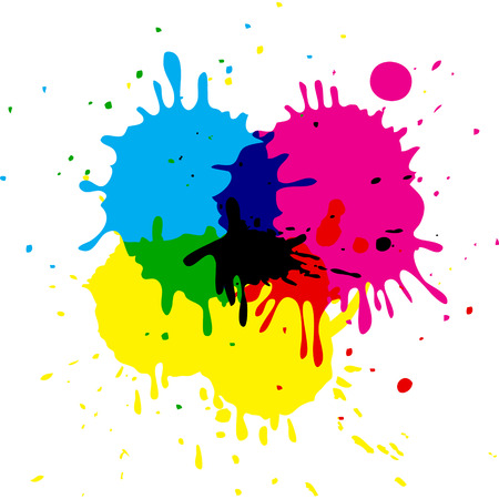 wet paint: CMYK colored vector isolated stains