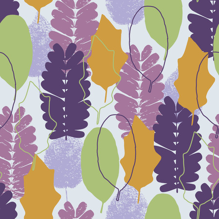 pastel colored: Colorful leaf autumn vector background, pastel colored seamless pattern