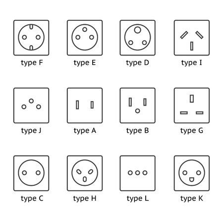 electrical outlet: Different type power socket set, vector isolated icon illustration for different country plugs