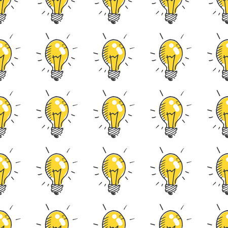 Doodle vector light bulb seamless pattern, simple background Vector